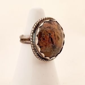 Jewelry - Handmade Silver and Stone Ring Size 5 1/2